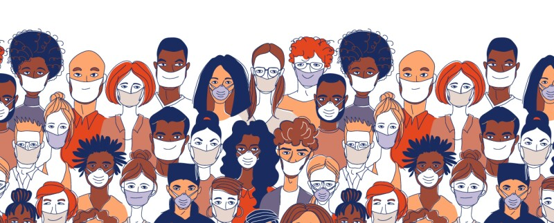 graphic-drawing-of-crowd-of-people-in-masks-warm-toned-colors