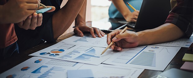 group of professionals analyzing data charts