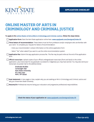 The application checklist for the online MA in Criminology and Criminal Justice