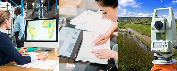 three images left woman on computer looking at map middle woman with papers right teal device in nature
