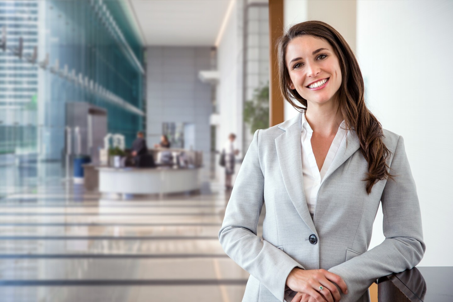 Smiling business woman in suit