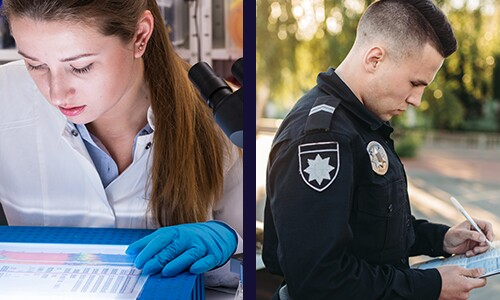 Split-Image-Of-Two-People-Scientist-In-Lab-Reviewing-DNA-Data-And-Police-Officer-Holding-Clipboard