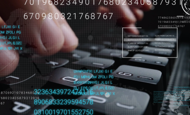 Close up of fingers on a keyboard with overlay of binary code on top of graphic
