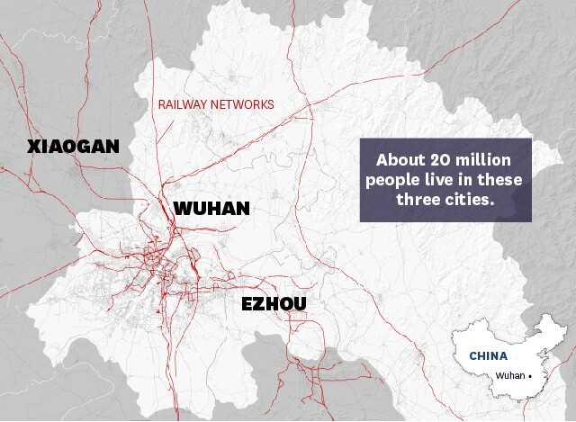 railway map of wuhan and surrounding cities