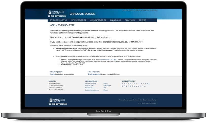 Marquette application portal