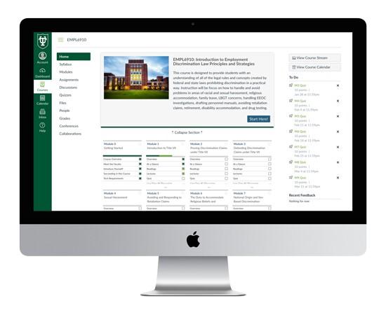 Desktop view of the Tulane online classroom