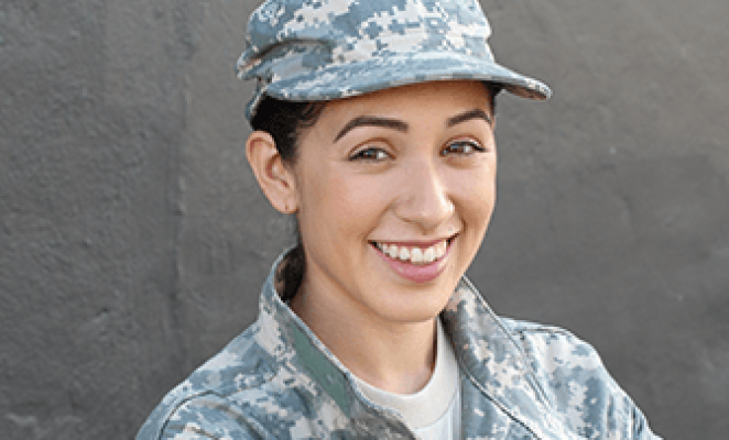 Smiling young woman in camo uniform