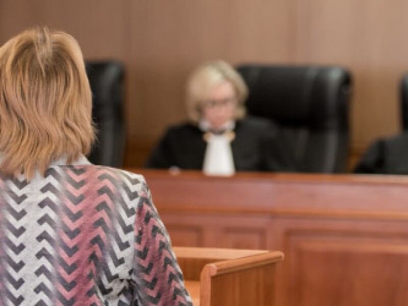 A person with their back to the viewer stands at a lectern speaking to a judge.