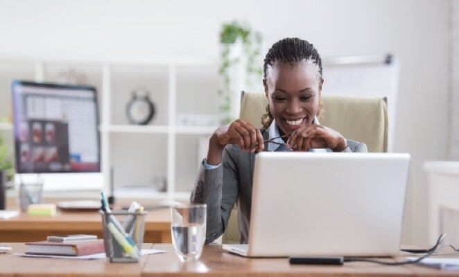 African american business woman in front of computer