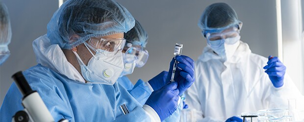 Doctor in laboratory working