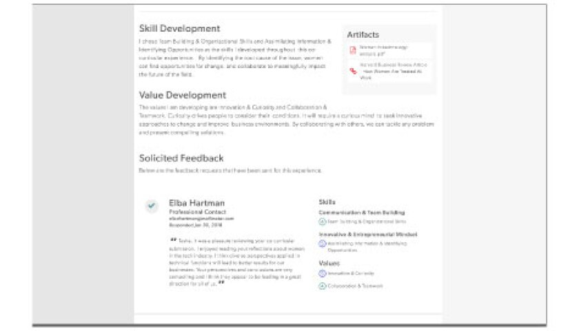 Example of Co Curricular In SVP Dashboard