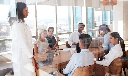 Health-Informatics-Director-Meets-With-Team-In-Hospital-Boardroom