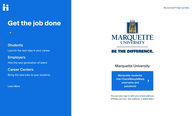 View of the MU Handshake homepage