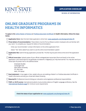 Health informatics graduate program application checklist