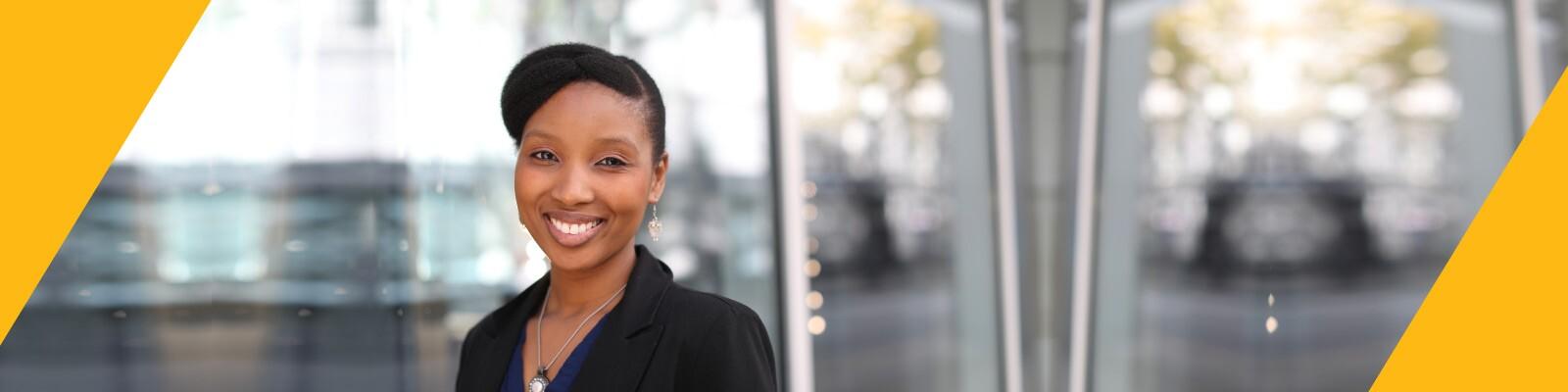 Woman in black business jacket
