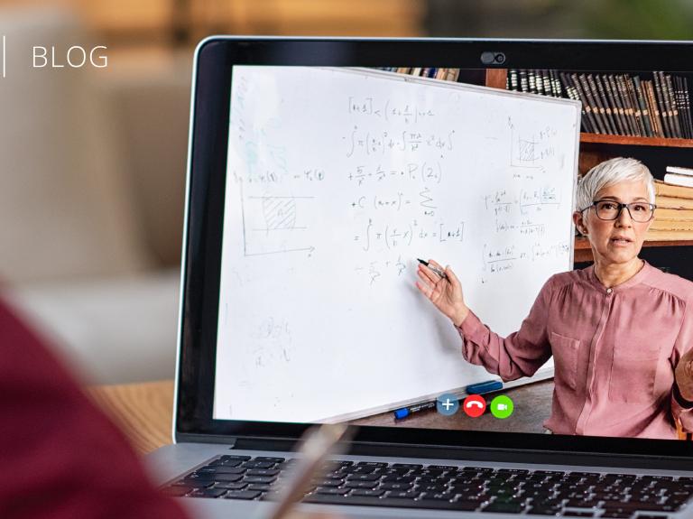 Woman virtually teaching through computer