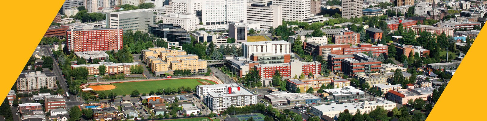 Aerial view of Seattle University campus