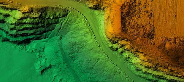 An abstract image of part of a map shows an area with depth indicated by a green to orange gradient.