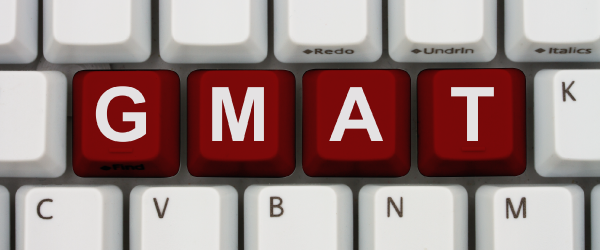 The word GMAT spelled out on individual keys of a keyword