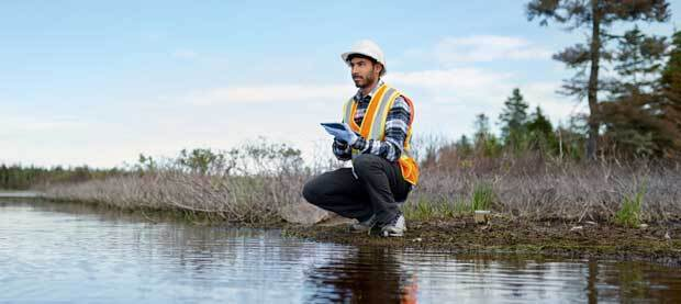 A man in a hardhat and orange safety vest holds a tablet and surveys a marshy wilderness area.