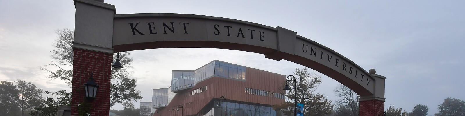 View of the Kent State University archway on campus